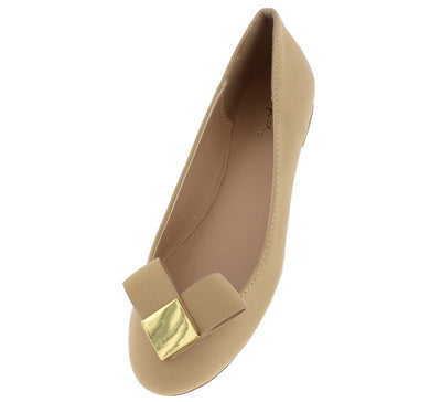 Reward15 Nude Gold Square Bow Ballet Flat - Wholesale Fashion Shoes