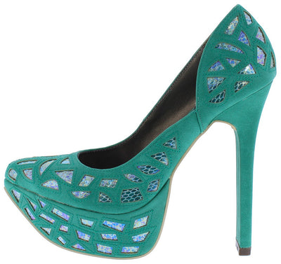 Juliana127 Teal Metallic Cut Out Platform Stiletto Heel - Wholesale Fashion Shoes