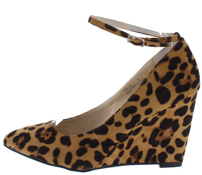Reya02 Leopard Almond Toe Ankle Strap Single Sole Wedge - Wholesale Fashion Shoes