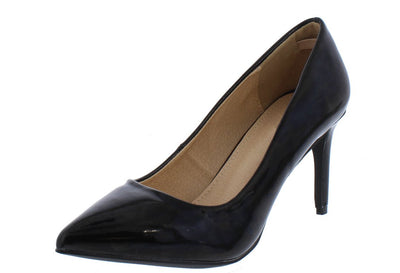 Riley126 Black Patent Pointed Toe Short Pump Heel - Wholesale Fashion Shoes
