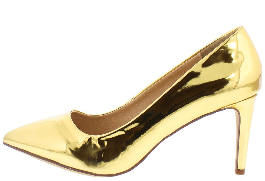 20b85d09a2ca00 Riley126 Gold Patent Pointed Toe Short Pump Heel - Wholesale Fashion Shoes