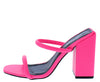 Rhea Pink Dual Strap Square Open Toe Block Heel - Wholesale Fashion Shoes