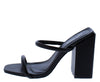 Rhea Black Dual Strap Square Open Toe Block Heel - Wholesale Fashion Shoes