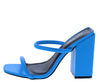 Rhea Blue Dual Strap Square Open Toe Block Heel - Wholesale Fashion Shoes