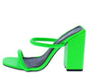 Rhea Green Dual Strap Square Open Toe Block Heel - Wholesale Fashion Shoes