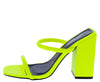 Rhea Lime Dual Strap Square Open Toe Block Heel - Wholesale Fashion Shoes