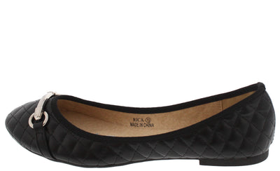 Rica Black Quilted Metal Accent Ballet Flat - Wholesale Fashion Shoes
