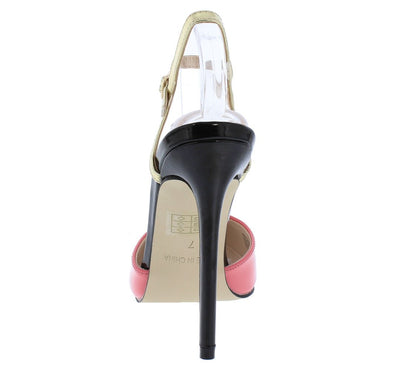 Olivia034 Pink Pointed Toe Slingback Ankle Strap Heel - Wholesale Fashion Shoes