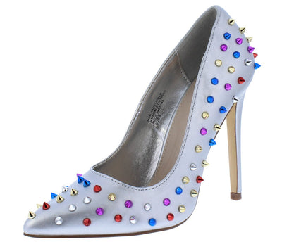 Ricky18 Silver Multi Spike Stud Pointed Toe Stiletto Heel - Wholesale Fashion Shoes
