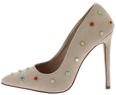 Ricky24 Nude Multi Color Stud Pointed Toe Stiletto Heel - Wholesale Fashion Shoes