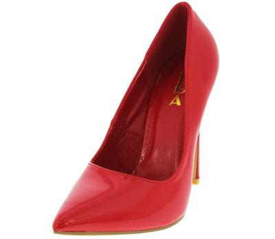Ricky6 Red Faux Patent Pointed Toe Heel - Wholesale Fashion Shoes