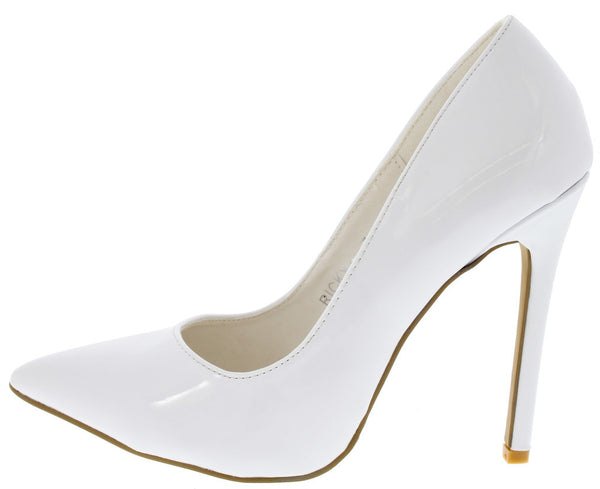 029ea3e252b2 Ricky6 White Faux Patent Pointed Toe Heel