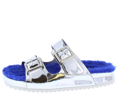 Allision202 Silver Open Toe Dual Buckle Strap Faux Fur Sandal - Wholesale Fashion Shoes