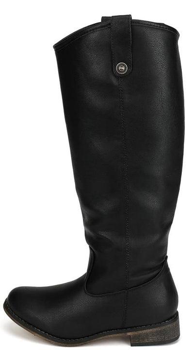 Rider18 Black Knee High Pull Tabs Almond Toe Boot - Wholesale Fashion Shoes