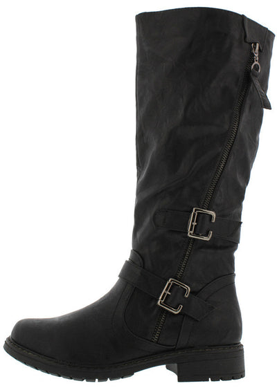 Rider1 Black Pu Knee High Buckle Moto Boot - Wholesale Fashion Shoes