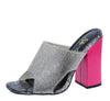 Rikki Pink Rhinestone Cut Out Open Toe Tall Block Heel - Wholesale Fashion Shoes