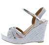 Rina01s Silver Braided Strappy Open Toe Slingback Wedge - Wholesale Fashion Shoes