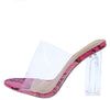 Adele256 Clear Neon Pink Peep Toe Lucite Mule Block Heel - Wholesale Fashion Shoes