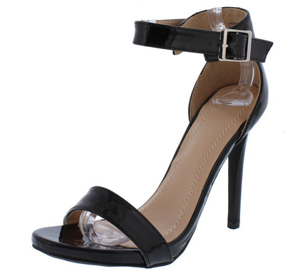 Brooklyn213 Black Patent Open Toe Ankle Strap Heel - Wholesale Fashion Shoes