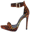 Ripp Tiger Pointed Open Toe Ankle Strap Low Platform Heel - Wholesale Fashion Shoes