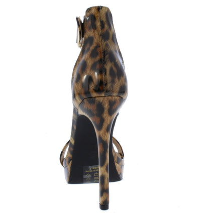 Ripp Leopard Pointed Open Toe Ankle Strap Low Platform Heel - Wholesale Fashion Shoes