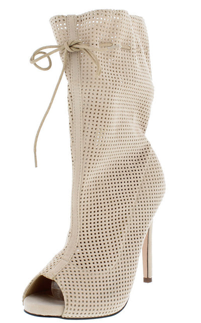 Sarah10 Nude Open Toe Extended Shaft Perforated Stiletto Heel Ankle Boot - Wholesale Fashion Shoes