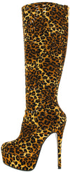 Risky Leopard Platform High Heeled Boot - Wholesale Fashion Shoes