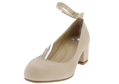 Ritz5 Beige Round Toe Ankle Strap Short Chunky Heel - Wholesale Fashion Shoes