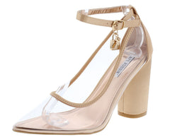 Rizzo1 Rose Gold Lucite Pointed Toe Lock Key Buckle Block Heel - Wholesale Fashion Shoes