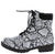 Roadside White Snake Lace Up Lug Sole Boot