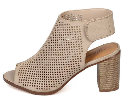 Roadway Beige Perforated Peep Toe Cut Out Stacked Heel - Wholesale Fashion Shoes