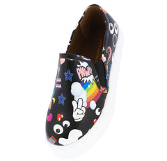 ROBBIE BLACK ART GRAFFITI WOMEN'S SNEAKER FLAT - Wholesale Fashion Shoes