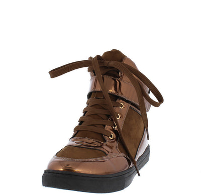 Robert01 Brown Metallic Suede Lace Up Sneaker Boot - Wholesale Fashion Shoes