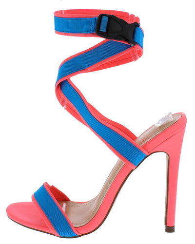 Bernie196 Neon Pink Blue Open Toe Cross Wrap Ankle Clip Strap Heel - Wholesale Fashion Shoes