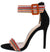 Rockets Black Striped Open Toe Ankle Strap Stiletto Heel