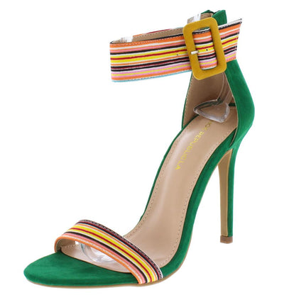 Rockets Jade Striped Open Toe Ankle Strap Stiletto Heel - Wholesale Fashion Shoes