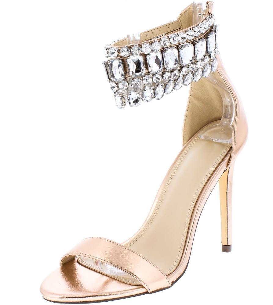 ddf9edf37cef7 Rylee255 Rose Gold Open Toe Multi Rhinestone Ankle Strap Heel - Wholesale  Fashion Shoes