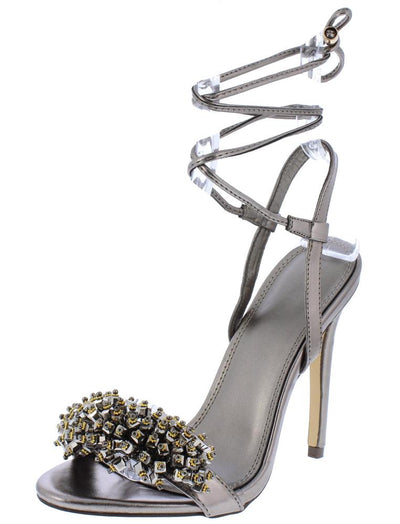 Charlotte029 Pewter Beaded Open Toe Ankle Wrap Heel - Wholesale Fashion Shoes