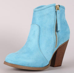ARIA WATER BLUE DETAILED STITCHING OUTER ZIPPER ANKLE BOOT - Wholesale Fashion Shoes