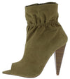 Romo Khaki Pointed Peep Toe Tapered Heel Ankle Boot - Wholesale Fashion Shoes