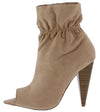Romo Taupe Pointed Peep Toe Tapered Heel Ankle Boot - Wholesale Fashion Shoes