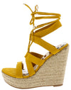 Rondo Yellow Strappy Lace Up Ankle Wrap Espadrille Wedge - Wholesale Fashion Shoes