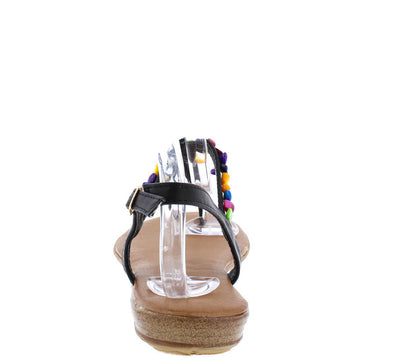 Ronnie13 Black Colorful Beaded T-strap Sling Back Flat Sandal - Wholesale Fashion Shoes