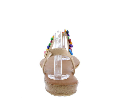 Ronnie13 Taupe Colorful Beaded T-strap Sling Back Flat Sandal - Wholesale Fashion Shoes