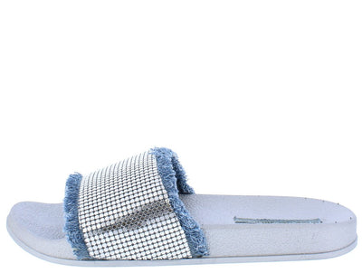Rooroo Silver Metallic Frayed Slide on Sandal Flat - Wholesale Fashion Shoes