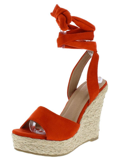 Adalyn060 Coral Suede Open Toe Ankle Wrap Braided Wedge - Wholesale Fashion Shoes