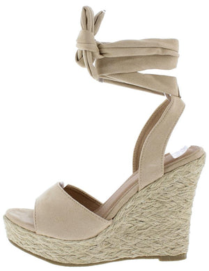 a2b0df903 Adalyn060 Nude Suede Women s Wedge - Wholesale Fashion Shoes