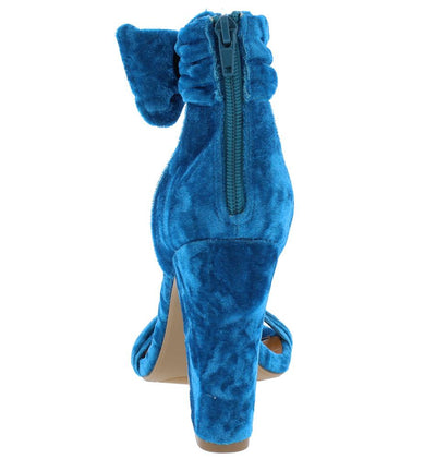 Rosalyn Royal Blue Crushed Velvet Open Toe Ankle Band Chunky Heel - Wholesale Fashion Shoes