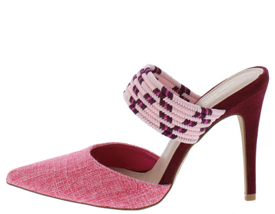 Rosella Pink Tweed Pointed Toe Multi Woven Strap Mule Heel - Wholesale Fashion Shoes
