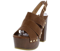 ROSEY06 TAN DISTRESSED GOLD STUDDED SLING BACK CHUNKY WOOD HEEL - Wholesale Fashion Shoes